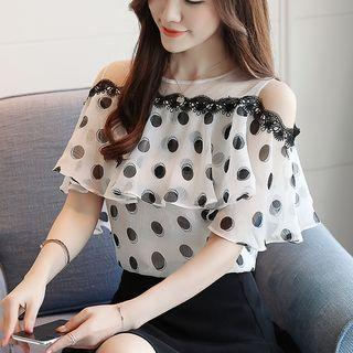 Flounced Mesh-panel Dotted Short-sleeve Top