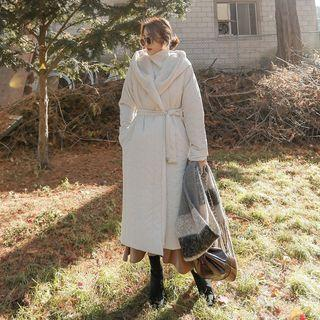 Hooded Padded Long Coat With Sash