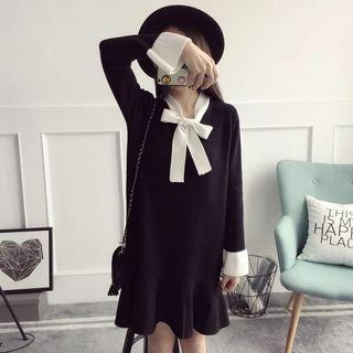 Long-sleeve Tie-neck Knit Dress