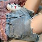 Ripped High Waist Denim Shorts