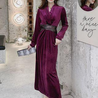 Glitter Tie-waist Wrap Velvet Midi A-line Dress
