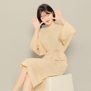 3/4-sleeve Striped Dress With Sash