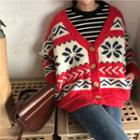 Patterned Loose Fit Cardigan