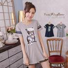 Short Sleeved Dog Print Long T-shirt