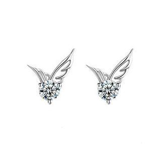 Simple Angel Wing Stud Earrings With White Austrian Element Crystal