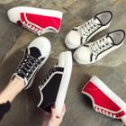 Contrast Trim Letter Canvas Sneakers