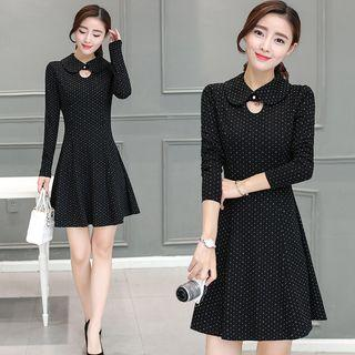 Dotted Cutout Collared Dress