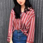 Contrast Cuff Striped Shirt