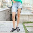 Asymmetric Cutout-hem Denim Shorts