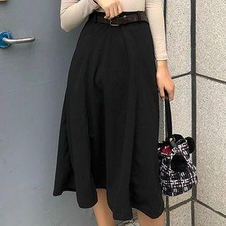 Set: A-line Midi Skirt + Belt