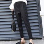 Cropped Faux Leather Dress Pants