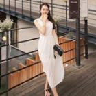 Sleeveless Long Chiffon Dress