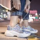 Iridescent Mesh Panel Platform Sneakers