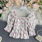 Floral Print Smocked Puff-sleeve Blouse White - One Size