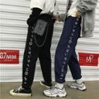 Couple Matching Cropped Japanese Character Print Wide-leg Pants