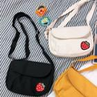 Embroidered Strawberry Canvas Crossbody Bag