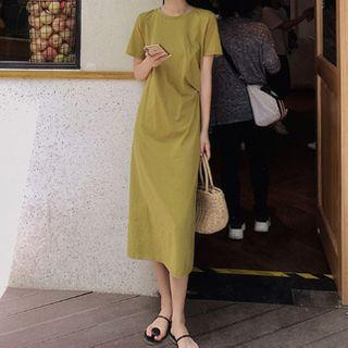 Short Sleeve Plain Shift Dress