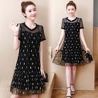 Short-sleeve Leaf Print Mesh Dress
