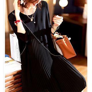 Long-sleeve Irregular Accordion-pleat A-line Midi Dress