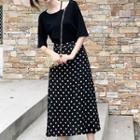 High Waist Dotted Midi Skirt