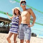 Couple Matching Set: Striped Bikini + Dress / Beach Shorts