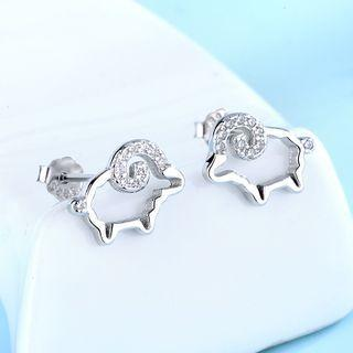 925 Sterling Silver Rhinestone Sheep Earring 1 Pair - 925 Silver - White - One Size
