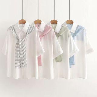 Set: Elbow-sleeve Shirt + Shawl