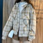 Plaid Buttoned Zip Jacket