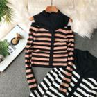 Mock Two-piece Striped Long-sleeve Knit Top