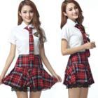 Set: Short-sleeve Shirt + Pleated Plaid Skirt