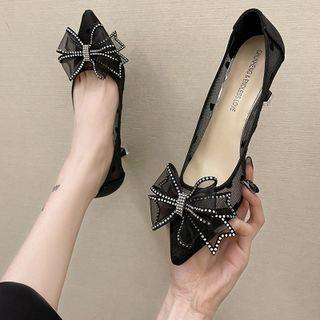 Ribbon Rhinestone Mesh Pointy-toe Pumps
