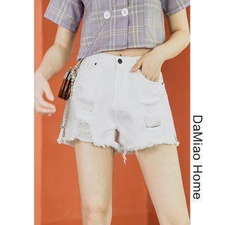 Distressed Denim Wide Shorts