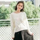 Ribbon Back Cable-knit Sweater