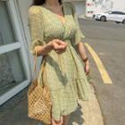 Ruffled Patterned Chiffon Dress