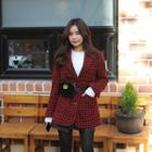 Notched-lapel Houndstooth Wool Blend Jacket