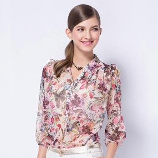 3/4-sleeve Floral Chiffon Blouse