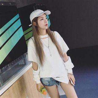 Long-sleeve Distressed Long Top