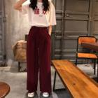 Elbow-sleeve Chinese Character T-shirt / Wide-leg Pants