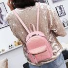Mini Sequined Faux-leather Backpack