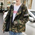 Camo Hooded Trench Jacket
