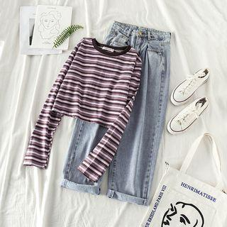 Long-sleeve Striped Cropped T-shirt / Washed Straight-cut Jeans
