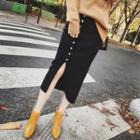 High Waist Knit Midi Skirt
