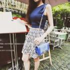 Set: Plain Sleeveless Top + Patterned A-line Skirt