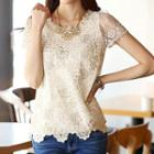 Embellished Short-sleeve Lace Top