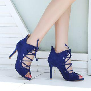 Lace Up High Heel Pumps