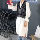Plaid Waistcoat / Puff-sleeve Loose-fit Shirtdress