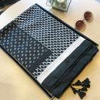 Patterned Tassel Shawl Black & White - One Size