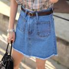 Pocket-front Denim A-line Skirt With Belt