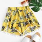 Asymmetric Floral Shorts