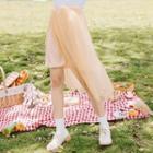 Belted Mesh Overlay Skirt